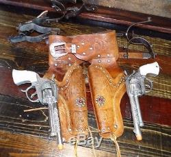 17700 Vintage Pair Gene Autry Toy Cap Gun with Leather Double Western Holster