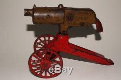 1930's Grey Iron Cast Iron Machine Gun on Wheels, Original
