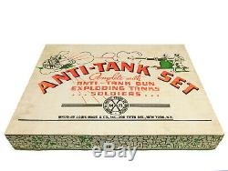 1940's MARX ANTI-TANK PLAY SET COMPLETE IN BOX EXPLODING TANKS TARGETS GUN AMMO