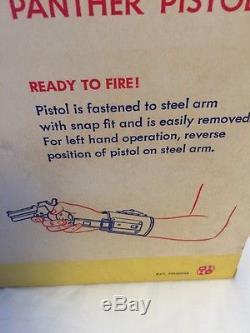 1950's HUBLEY Panther Double Barrel Derringer Toy Cap Gun & Wrist Holster -NEW