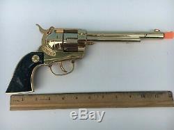 1950's RARE Hubley COWBOY CLASSIC Die Cast CAP GUN in GOLD FINISH NM -Unfired