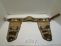 1950's ROY ROGERS DUAL LEATHER CAP GUN HOLSTER