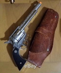 1950s Nichols Stallion 45 Mark II Toy Six Shooter Cap Gun & Ruff N Ready Holster