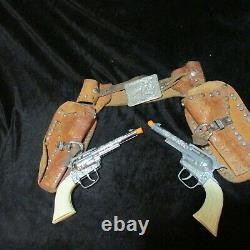 1950s Roy Rogers and Trigger Double Holster Cap Gun Revolver Set