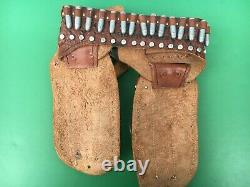 1955 ROY ROGERS Leather DOUBLE HOLSTER with (2) SCHMIDT Cap Guns