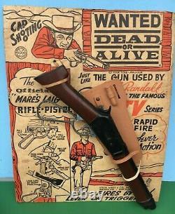 1958 Marx WANTED DEAD Or ALIVE Steve McQueen 17 MARES LAIG Cap Gun Display CARD