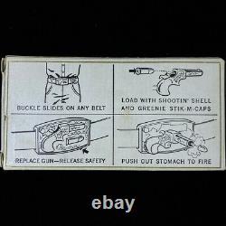 1959 Toy Remington Derringer Pistol Cap Gun Mattel NOS Vintage Belt Buckle wBox