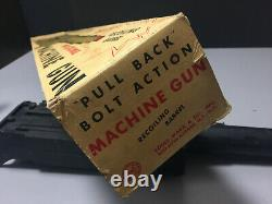 1960's MARX toy. 50 Caliber Machine Gun & Tripod with BOX & Loud rat-a-tat sound