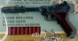 1960's Marx Toys Desert Patrol Toy Cap Gun Luger Pistol & Silencer No. 175 NEW