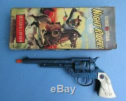 1960's Nm 10 1/2 English Lone Star Night Rider Cap Gun With Vg Box