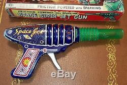 1960s Space Super jet gun friction Vintage Toys made in Japan in box tin toy lot
