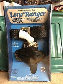 1975 Mattel Lone Ranger Crrackfire Silver Special Cap gun Single Holster Mask