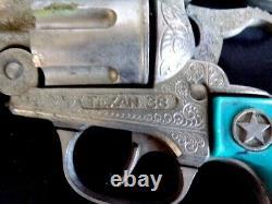 2 ORIGINAL HUBLEY TEXAN 38 CAP GUNS with TURQUOISE GRIPS & HOLSTER SET