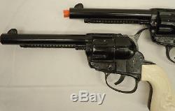 2 Vintage Mattel Black Fanner 50 Cap Gun Pistol Impala Grips Clean Unfired