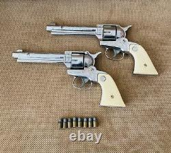 2 Vintage Nichols Stallion 38 Cap Guns with Holsters and Leather Belt 8 Bullets