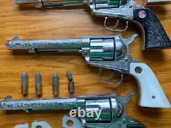 4 Vintage Nichols Stallion 45 Mark II Diecast Cap Gun Bullets 1950s Toy Revolver