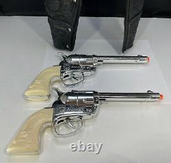 61 Mattel Fanner 50 Cap Gun Working/ Lone Ranger Double HolsterMattel