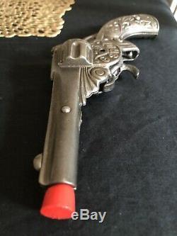 6 Shot Old Stevens 1895 Vintage Cast Iron Toy Cap Gun Revolving Triggers Rare