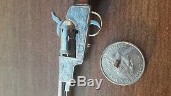 AMAZING COLT CIVIL WAR 1851 GUN 2mm. MINIATURE. WATCH PINFIRE FOB. ENGRAVED. #16