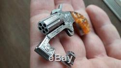 AMAZING NAA PUG GUN 2mm. ROSENS MINIATURE. WATCH PINFIRE FOB. HAND ENGRAVED