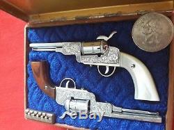 AMAZING PAIR COLT CIVIL WAR 1851 GUN 2mm. MINIATURE. WATCH PINFIRE FOB