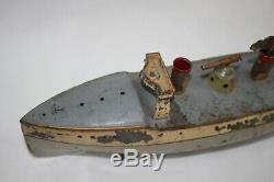 Antique 1910 German CARETTE GUN BOAT Tin Hand Painted Wind Up Toy No Fleischmann