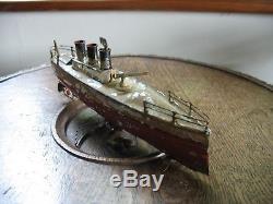 Antique Gun Boat Old Tin Toy Ship Staudt Carette 1910 Tinplate Clockwork Germany