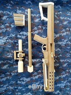 Antique Hand Made Wooden Sniper Barret M107 RUBBER BAND GUN