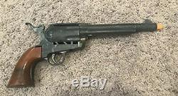 Antique Marx Toys Thundergun Revolver Cap Gun Rare With Leather Holding Case