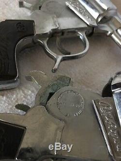 Antique Roy Rogers Leather Holster Belt Cap Gun Set Wood Bullets