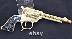 Antique Schmidt Shoot'n Iron 24k Gold Plated Cap Gun Original Box Orange Tipped