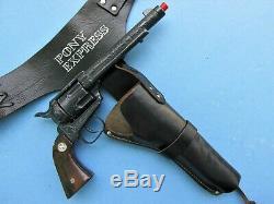 Blued Nichols Stallion 45 Cap Gun With Large Version Pony Express Holster Rig