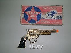 CAP GUN 50s TEXAN JR. GOLD PLATED CAP PISTOL EX with BOX NICE