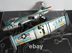 Early 1954 Alps Tin Litho USAF XT37 Fighter Jet, Friction w Crank Machine Gun
