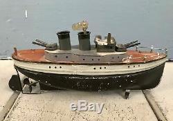 Early CARETTE GUN BOAT tin Clockwork Original Paint Wind-Up Ship with Key