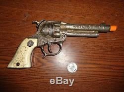 Extra Rare Hubley Ranger 44 Nickel Plated Diecast Auto Cap Gun c. 1940s K