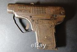 Extremely Rare Austrian Cigarette Box Vtg Black Painted Tin Toy Gun Pistol