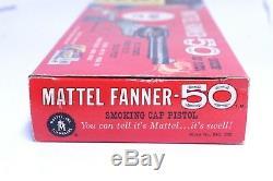 FANTASTIC VINTAGE MATTEL FANNER 50 SMOKING CAP GUN PISTOL UNUSED With BOX