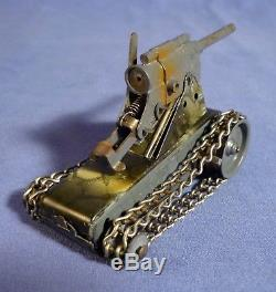 GESCHA Selbstfahrlafette Blech Kanone Panzer 30's vintage tin toy gun tank B173