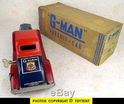 G-Man Pursuit Car wind-up with sparkling gun Marx Toys 1935 boxed. See movie