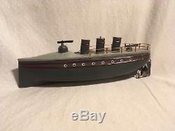 George Carette Gun Boat Tin Clockwork Torpedo Boat Toy Ship Germany 1920s