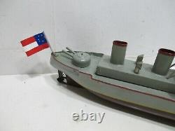 Gun Boat Wind Up Pre War Excellent Condition Tested And Works Good All Metal