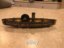 HESS Tin Litho FLYWHEEL OPERATED GUN BOAT BATTLESHIP ca. 1890's #2