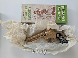 HOPALONG CASSIDY Gold Plated Antique Toy Cap Gun NEW, Never fired-Original Box