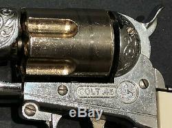 Hubley Colt 45 Cap Gun Toy Cowboy Western Die Cast Vintage 6 Bullets