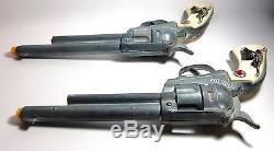 Hubley Cowboy Pistol Toy Cap Gun Longhorn Grip Deluxe Holster Custom Display Box