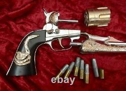 Hubley Vintage 1958 Colt 45 Cap Gun, Nickel & Gold with Six 2-piece Bullets