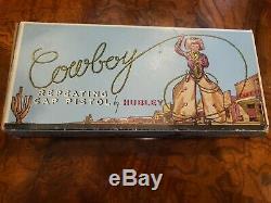Hubley Vintage Cowboy Repeating Toy Pistol Cap Gun With Original Box