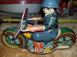 Japan SATO POLICE MACHINE GUN MOTORCYCLE Friction Tin Litho Toy