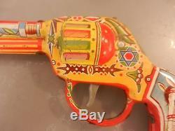 Jewish judaica gamad vintage tin pistol gun israel israeli toy purim